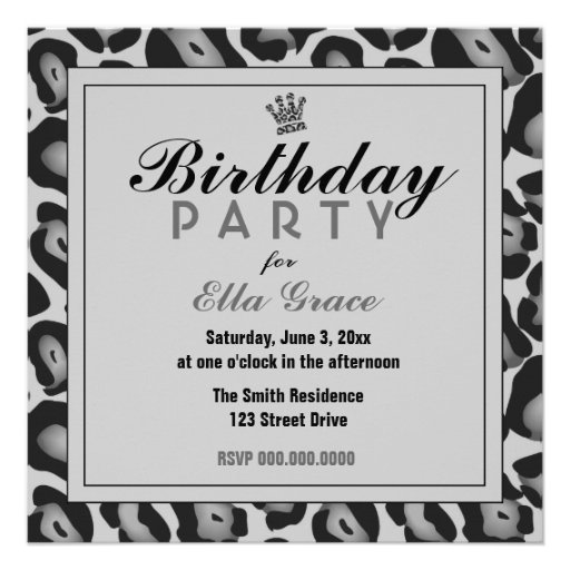 Gray Leopard Invitation