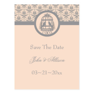 Gray Lovebird Cage Save The Date Postcard