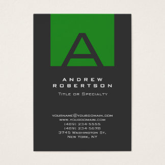 Gray Monogram Forest Green Stripe Business Card
