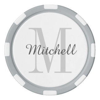 Gray Monogram Personalized Poker Chips