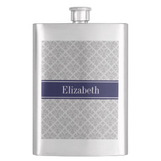 Gray on Gray Damask #3 Navy Blue Name Monogram Hip Flask