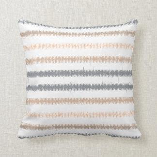 Gray Peach Ikat Stripes Throw Pillow