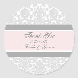 Gray Pink Damask Thank You Wedding Favor Tags