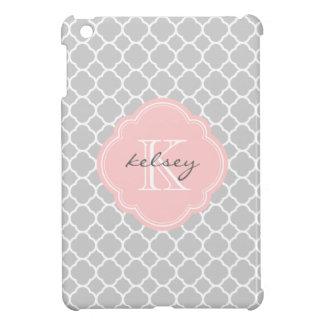 Gray & Pink Modern Quatrefoil Custom Monogram Case For The iPad Mini