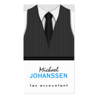 Gray Pinstripe Suit Vest and Tie Tie Accountant Pack Of Standard Business Cards