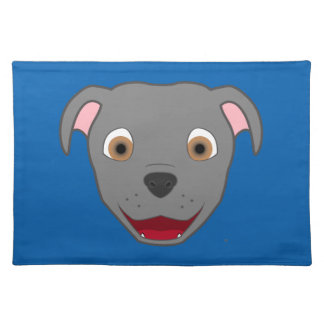 Gray Pitbull Face Placemat