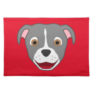 Gray Pitbull Face with White Blaze Placemat