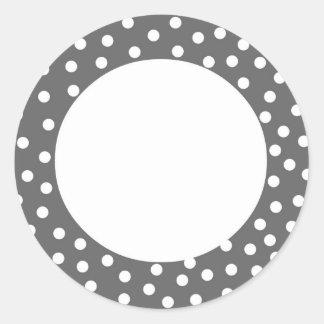 Gray Polka Dot Label Round Sticker