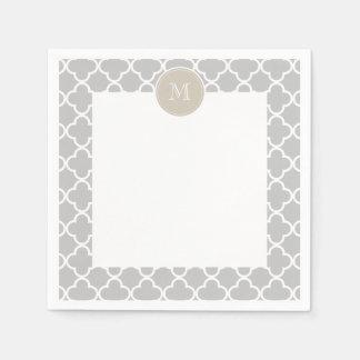Gray Quatrefoil Pattern, Beige Monogram Disposable Serviette