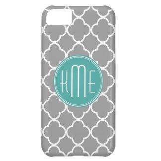 Gray Quatrefoil with Custom Mint Monogram iPhone 5C Case