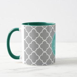 Gray Quatrefoil with Custom Mint Monogram Mug