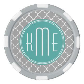 Gray Quatrefoil with Custom Mint Monogram Set Of Poker Chips