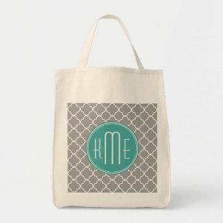 Gray Quatrefoil with Custom Mint Monogram Tote Bag