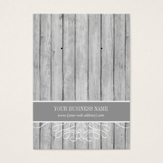 Gray Rustic Wood Custom Earring Card