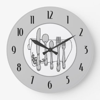 Gray Silverware White Napkin Black Numbers Clock