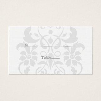 Gray Subtle Damask Wedding Place Cards