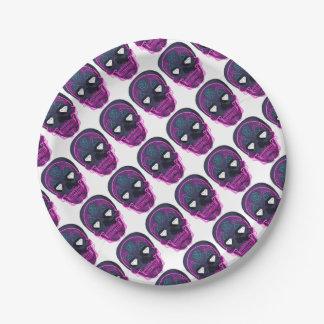 Gray Sugar Skull Paper Plate
