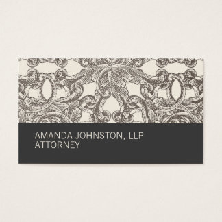 Gray Taupe Damask Attorney Business Card