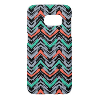 Gray, Teal, And Coral Hand Drawn Chevron Pattern