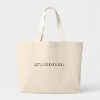 Gray Text Groomsman Jumbo Tote Bag