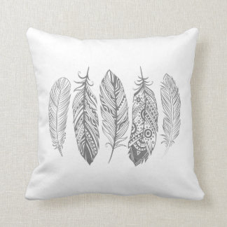 Gray Watercolor Feather Tribal Print Pillow Throw Cushion