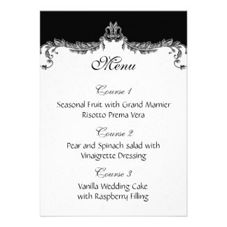 gray wedding menu personalized announcements