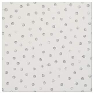 Gray White Confetti Dots Pattern Fabric
