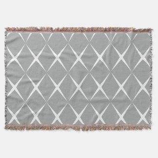 Gray White Diamond Throw Blanket