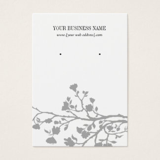 Gray White Flowers Custom Earring Card