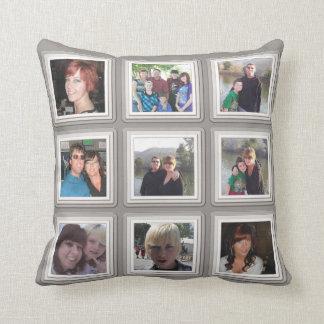 Gray & White Frame Add Photos Instagram Collage Throw Pillow