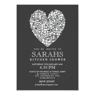 Gray White Kitchen Tea Bridal Shower Party Invite