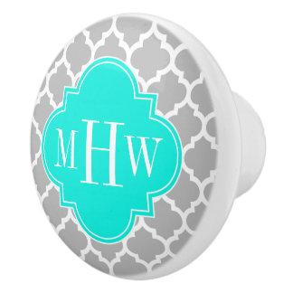 Gray White Moroccan #5 Brt Aqua 3 Initial Monogram Ceramic Knob