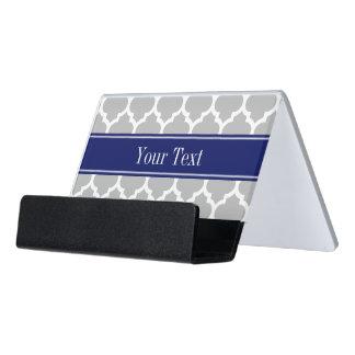 Gray White Moroccan #5 Navy Blue Name Monogram Desk Business Card Holder
