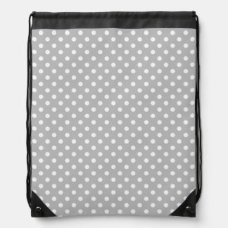 Gray White Polka Dots Pattern Drawstring Bag