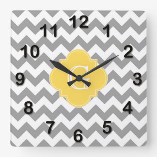 Gray Wht Chevron Mustard Quatrefoil Monogram Square Wall Clock