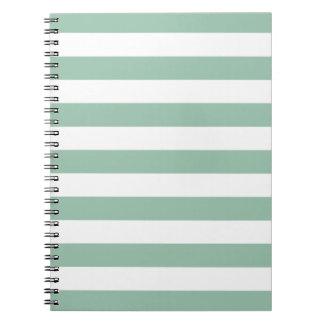 Grayed Jade Green Stripes Pattern Notepad Notebook