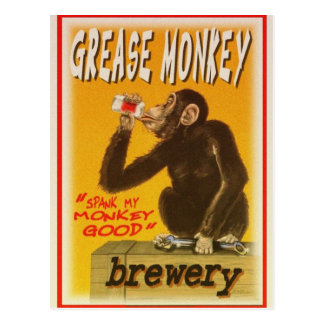 grease monkey brewery postcard