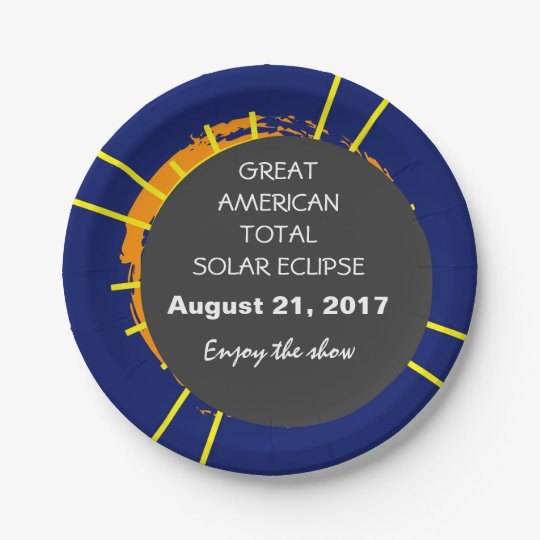Great American Total Solar Eclipse customisable 7 Inch Paper Plate