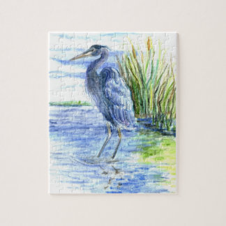 Great Blue Heron Wades in the Marsh Jigsaw Puzzle
