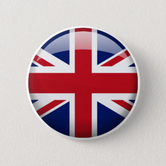 Great Britain Flag in Glass 6 Cm Round Badge