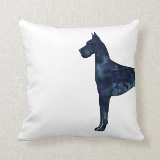 Great Dane Black Watercolor Silhouette Cushion
