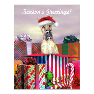 Great Dane Christmas Surprise Brindle Card