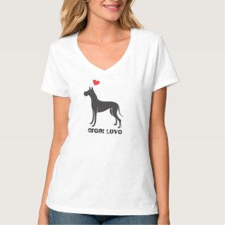 Great dane Great love black dog T-Shirt