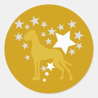 Great Dane Heartstar Classic Round Sticker