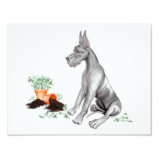 Great Dane Naughty Pup White UC Card