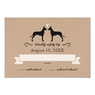 Great Dane Silhouettes Wedding RSVP Reply Card