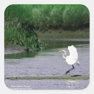 Great Egret landing in a salt marsh - Stickers