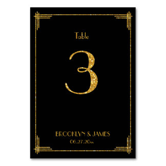 Great Gatsby Art Deco Table Number 3 Gold Sequins