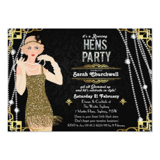Great Gatsby Flapper Girl Hens Party Invitation