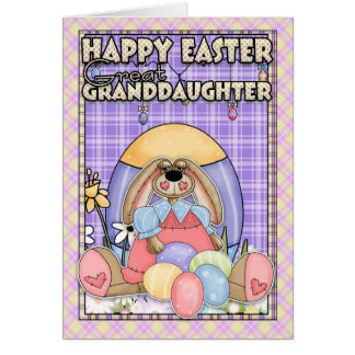 Great Granddaughter Easter Card - Easter Bunny & E